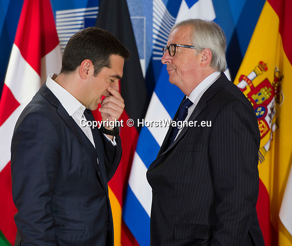 Belgium, Brussels - June 24, 2018 -- Informal working meeting on migration and asylum issues convened by Jean-Claude JUNCKER (ri), President of the European Commission, here welcoming Alexis TSIPRAS (le), Prime Minister of Greece -- Photo © HorstWagner.eu