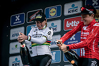 podium with race winner Annemiek Van Vleuten (NED/Mitchelton Scott) and 3th place finisher Floortje Mackaij (NED/Sunweb)<br /> <br /> 12th Women's Omloop Het Nieuwsblad 2020 (BEL)<br /> Women's Elite Race <br /> Gent – Ninove: 123km<br /> <br /> ©kramon