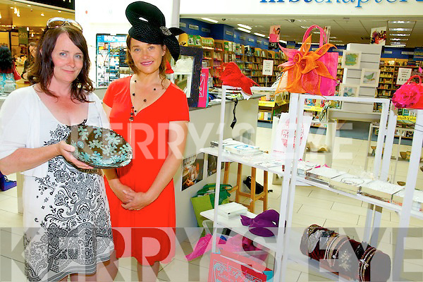 Julia Clarke from Edge of the Earth Ceramics and milliner Kathleen McAuliffe displaying some their hand made crafts at the Original Kerry Artisan Crafts held in the Manor West Shopping Centre at the weekend.