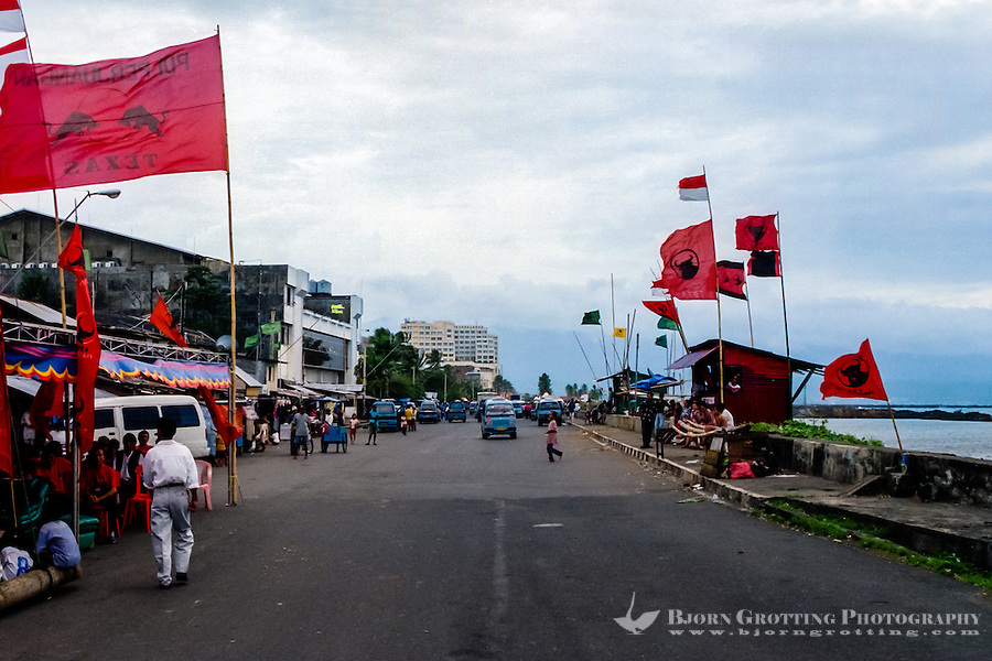 North Sulawesi. Manado seaside, Megawati election flags before the important election in 1999.