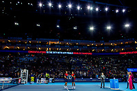 17th November 2019; 02 Arena. London, England; Nitto ATP Tennis Finals; Pierre-Hugues Herbert (FRA) and Nicolas Mahut (FRA) hold the ATP doubles trophy - Editorial Use