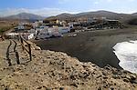Black sand beach at the coastal village of Ajuy, Fuerteventura, Canary Islands, Spain