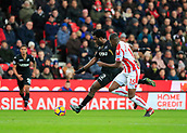 2nd December 2017, bet365 Stadium, Stoke-on-Trent, England; EPL Premier League football, Stoke City versus Swansea City; Wilfried Bony of Swansea City fires a shot in on goal