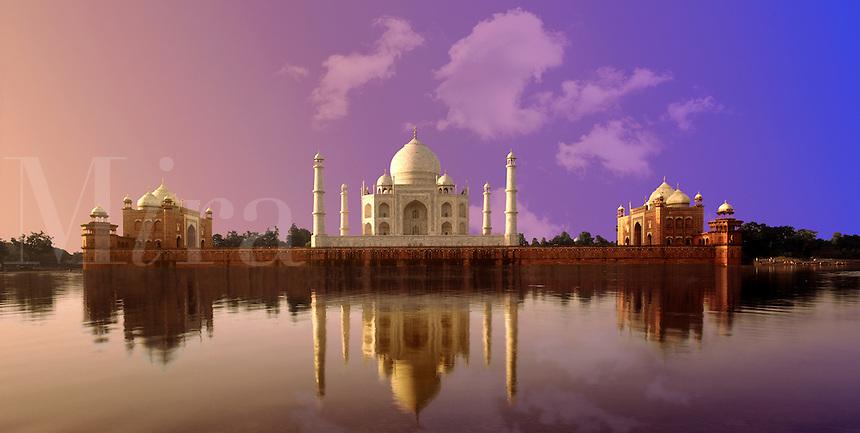 India.  The Taj Mahal, Agra, Uttar Pradesh.  The Taj Mahal, seen reflected in the River Yamuna, built between 1631 and 1648, Shah Jahan's monument to Mumtaz Mahal, his favorite/favourite wife