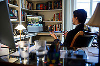 Prime Minister Trudeau takes part in a video conference call with G7 leaders from Rideau Cottage. April 16, 2020.