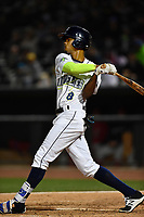 Right fielder Jose Medina (8) of the Columbia Fireflies bats in a game against the Lakewood BlueClaws on Friday, May 5, 2017, at Spirit Communications Park in Columbia, South Carolina. Lakewood won, 12-2. (Tom Priddy/Four Seam Images)