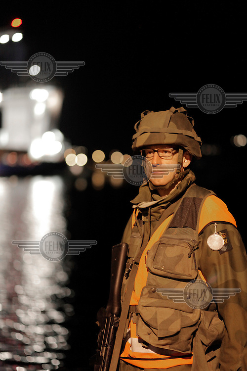 (Oslo 28.10.2010) John Ouren, one of the Home Guard soldiers guarding the oil terminal Sjursøya during an exercise..The Home Guard has traditionally been designated to secure important domestic installations in case of war or crisis. With the cold war long gone, a war in Afghanistan and budget cuts, there is a debate over the Home Guard's role in the future....©Fredrik Naumann/Felix Features