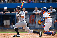 Jake Mueller (6) of the Wake Forest Demon Deacons follows through on his swing against the Florida Gators in Game One of the Gainesville Super Regional of the 2017 College World Series at Alfred McKethan Stadium at Perry Field on June 10, 2017 in Gainesville, Florida.  (Brian Westerholt/Four Seam Images)