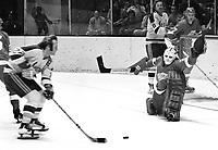 Seals Craig Patrick skates in on Detroit Red Wing goalie Dennis DeJordy..(1973 photo/Ron Riesterr)