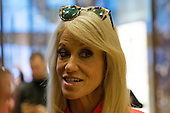 Trump campaign manager Kellyanne Conway speaks with member of the press in the lobby of Trump Tower in New York, NY, USA on December 3, 2016. <br /> Credit: Albin Lohr-Jones / Pool via CNP