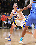 SIOUX FALLS, SD - MARCH 5:  Macy Miller #12 of South Dakota State drives towards the basket in the 2016 Summit League Tournament. (Photo by Dick Carlson/Inertia)