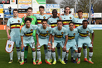 20170314 - UDEN , NETHERLANDS : Belgian team with Arno Valkenaers (1)   Jerko Guldix (4)   Logan Ndenbe (5)   Maxime de Bie (6)   Ikoma Lois Openda (7)   Mohamed loua (8)   Daan Vekemans (9)   Theo Leoni (10)   Othman Boussaid (11)   Quinten Boudry (14)   Ewoud Plentinckx (15)   pictured during the UEFA Under 17 Elite round game between The Netherlands U17 and Belgium U17, on the first matchday in group 5 of the Uefa Under 17 elite round in The Netherlands , tuesday 14 th March 2017 . PHOTO SPORTPIX.BE | DIRK VUYLSTEKE