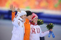 OLYMPICS: SOCHI: Adler Arena, 09-02-2014, 3000 m Ladies, OLYMPICS: SOCHI: Adler Arena, 09-02-2014, 3000 m Ladies, Martina Sábliková (CZE), Wüst (NED), ©foto Martin de Jong