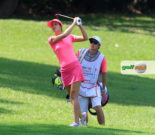 Michelle Wie (USA) on the 1st fairway during Round 4 of the HSBC Women's Champions at the Sentosa Golf Club, The Serapong Course in Singapore on Sunday 8th March 2015.<br /> Picture:  Thos Caffrey / www.golffile.ie