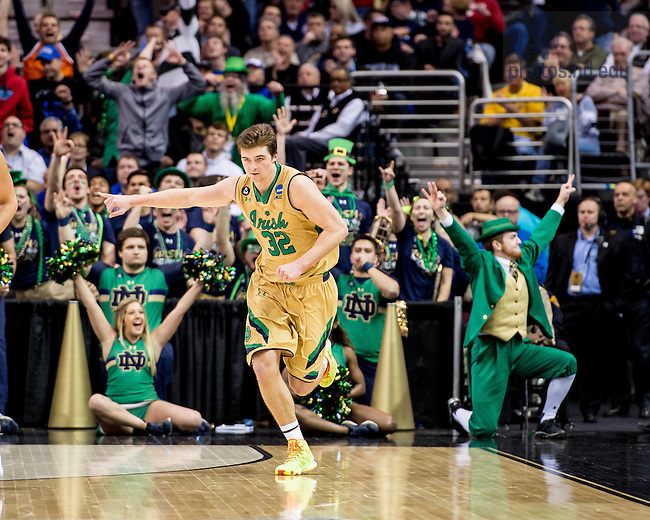 Mar. 28, 2015; Steve Vasturia (32) reacts after a three point basket in the second half of the 2015 NCAA Tournament regional final against Kentucky. (Photo by Matt Cashore/University of Notre Dame)