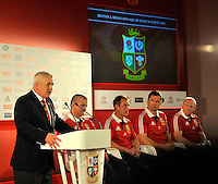 London, England. Warren Gatland the British and Irish Lions Head Coach during the 2013 British and Irish Lions tour squad and captain announcement at London Syon Park Hotel on April 30, 2013 in London, England.