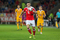 James Chester of Wales during the FIFA World Cup Qualifier match between Wales and Moldova at Cardiff City Stadium, Cardiff, Wales on 5 September 2016. Photo by Mark  Hawkins.
