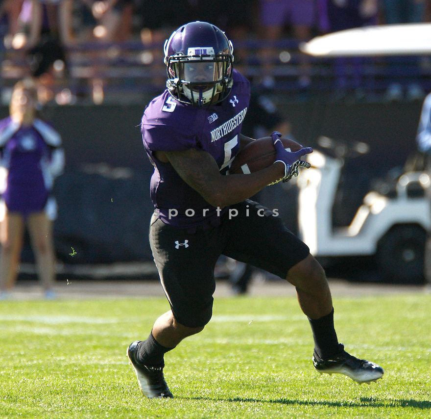Northwestern Wildcats Venric Mark (5) in action during a game against the Boston College Eagles on September 15, 2012 at Ryan Field in Evanston, IL. Northwestern beat Boston College 22-13