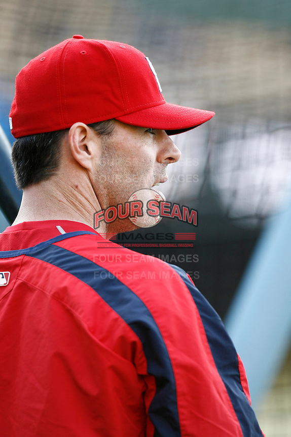 Jim Edmonds of the St. Louis Cardinals during batting practice before a game from the 2007 season at Dodger Stadium in Los Angeles, California. (Larry Goren/Four Seam Images)