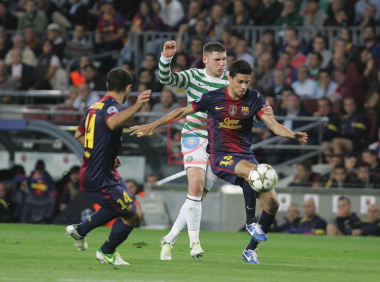 Mascherano, Hooper & Bartra. FC Barcelona vs Celtic: 2-1 - Champions League 2012/13-Game: 3