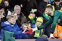 Angus Gunn of Norwich City gives a young Norwich fan his gloves during Norwich City vs Chelsea, Emirates FA Cup Football at Carrow Road on 6th January 2018