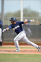 Milwaukee Brewers third baseman Sthervin Matos (13) during an Instructional League game against the Cincinnati Reds on October 6, 2014 at Maryvale Baseball Park Training Complex in Phoenix, Arizona.  (Mike Janes/Four Seam Images)