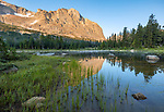 Wind River Range, WY: Mitchell Peak reflected in Horseshoe Lake at sunrise; Popo Agie Wilderness; Shoshone National Forest