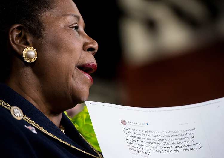 UNITED STATES - APRIL 12: Rep. Sheila Jackson Lee, D-Texas, participates in a press conference with House Judiciary Committee Democrats to announce new legislation to protect Special Counsel Robert Mueller's investigation on Thursday, April 12, 2018. (Photo By Bill Clark/CQ Roll Call)