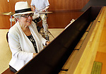 SOUTHBURY CT. 09 August 2017-080917SV08-Ethel Kaufman of Southbury plays the piano during the Love &amp; Knishes Lunch at the Jewish Federation of Western Connecticut in Southbury Wednesday.<br /> Steven Valenti Republican-American