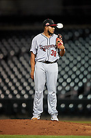 Scottsdale Scorpions relief pitcher Daysbel Hernandez (38), of the Atlanta Braves organization, during an Arizona Fall League game against the Mesa Solar Sox on September 18, 2019 at Sloan Park in Mesa, Arizona. Scottsdale defeated Mesa 5-4. (Zachary Lucy/Four Seam Images)