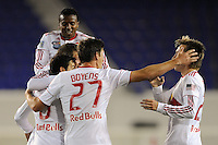 Sinisa Ubiparipovic (8) of the New York Red Bulls celebrates scoring with teammates. The New York Red Bulls defeated the New England Revolution 3-0 during a U. S. Open Cup qualifier round match at Red Bull Arena in Harrison, NJ, on May 12, 2010.