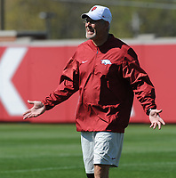 NWA Democrat-Gazette/ANDY SHUPE<br /> Arkansas defensive coordinator Paul Rhoads speaks to his players during a drill Saturday, April 1, 2017, during practice at the university practice field in Fayetteville. Visit nwadg.com/photos to see more photographs from practice.
