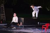 "11 July 2014, Muelheim/Ruhr, Germany. Volker Roos as Creon and Maria Neumann as Teiresias. Roberto Ciulli's ""Theater an der Ruhr"" perform ""Antigone"" as part of their open-air season ""Weisse Naechte"" (White Nights) in Raffelbergpark, Muelheim an der Ruhr, Germany."