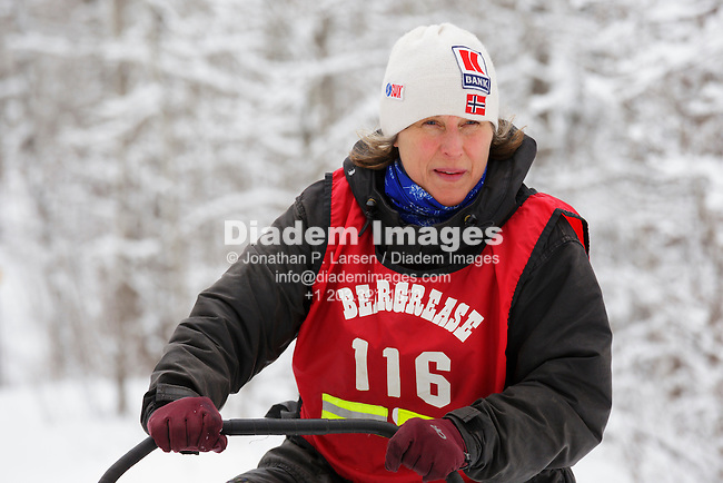 DULUTH, MINNESOTA - MARCH 10:  Mid-distance musher Martha Schouweiler on the trail soon after the start of the John Beargrease sled dog competition in Duluth Minnesota on March 10, 2013.   Editorial use only.  Commercial use prohibited.  No animal rights advocacy usage.  (Photograph by Jonathan Paul Larsen)