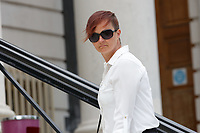 Pictured: Rebecca Rogers outside Cardiff Crown Court, Wales, UK. Friday 15 June 2018<br /> Re: A prison officer who sent romantic messages to an inmate has is due to be sentenced at Cardiff Crown Court in Wales, UK.<br /> Rebecca Rogers, 38, was working at HMP Parc in Bridgend when she met the man; however he was later moved to another prison.  Rogers kept contact with him sending a total of 26 letters of a personal nature.<br /> During that time, Rogers became aware that the prisoner was in possession of a mobile phone; an item which is prohibited.  She did not report the fact until six weeks later.