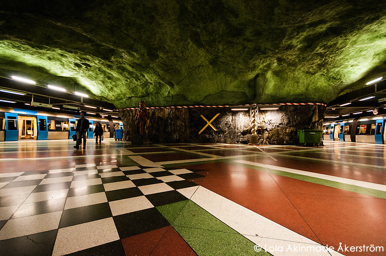 Underground subway art inside Stockholm's tunnelbana