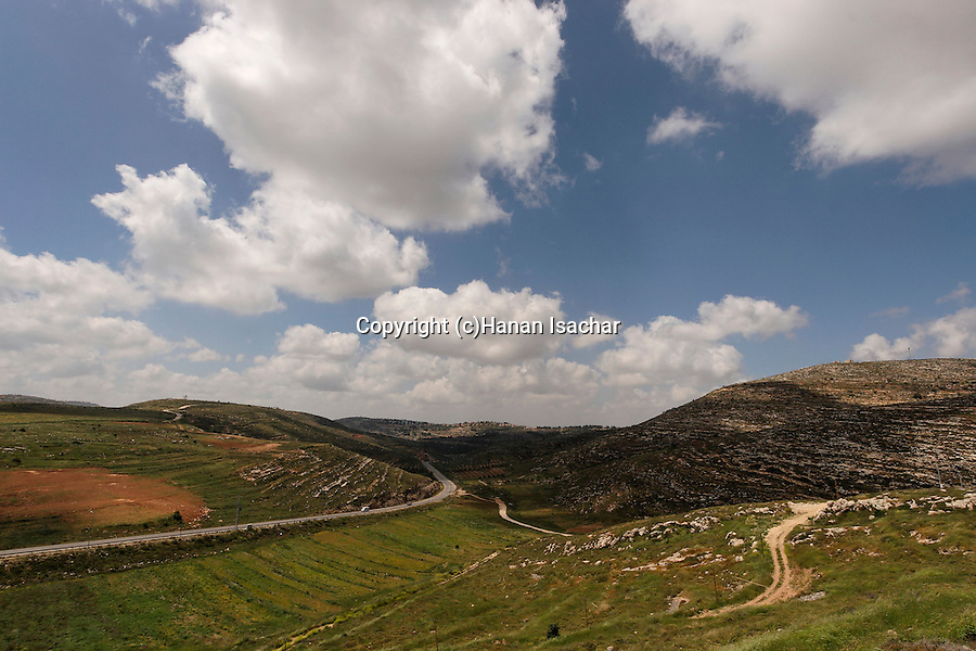 Samaria, a view of Wadi Eli, Levona valley and road 60 from Tel Shiloh