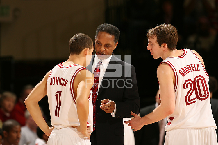 4 March 2006: Head coach Trent Johnson, Mitch Johnson, Dan Grunfeld during Stanford's 75-54 loss to the UCLA Bruins at Maples Pavilion in Stanford, CA.