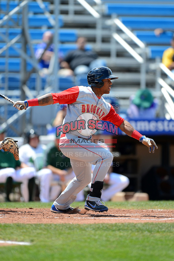 Brooklyn Cyclones outfielder Jonathan Clark (5) during a game against the Jamestown Jammers on August 4, 2013 at Russell Diethrick Park in Jamestown, New York.  Jamestown defeated Brooklyn 9-5.  (Mike Janes/Four Seam Images)