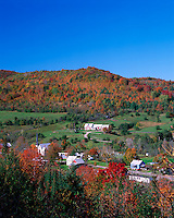 Orange County, VT<br /> Village of East Orange under forested hills in fall color