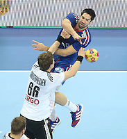 18.01.2013 Barcelona, Spain. IHF men's world championship, prelimanary round. Picture show  Nikola Karabatic    in action during game between France vs Germany at Palau St Jordi