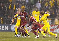 24 APRIL 2010:  Brian Carroll of the Columbus Crew (16), Real Salt Lakes' Collen Warner (26), Real Salt Lakes' Andy Williams (77) and Robbie Rogers of the Columbus Crew (18) during the Real Salt Lake at Columbus Crew MLS soccer game in Columbus, Ohio. Columbus Crew defeated RSL 1-0 on April 24, 2010.
