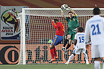 21 JUN 2010: Iker Casillas (ESP) (1), Gerard Pique (ESP) (3) and Walter Martinez (HON) (15). The Spain National Team played the Honduras National Team at Ellis Park Stadium in Johannesburg, South Africa in a 2010 FIFA World Cup Group C match.