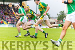 Paudie O'Connor and Colman Savage Kilmoyley in action against  Jack Goulding  Ballyduff in the County Senior Hurling Final at Austin Stack Park on Sunday.