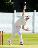 John Fosbraey bowls for Brondesbury during the ECB Middlesex Premier League game between North Middlesex and Brondesbury at Park Road, Crouch End on Sat June 21, 2014.