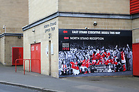 One of the most famous matches in Charlton's history was the 1997/98 Nationwide Division One Play-Off Final at Wembley against Sunderland. A large photo of Charlton celebrating with the Trophy is still proudly displayed on the outside of the North Stand. Clive Mendonca, who scored a hat-trick  in the match became a Charlton legend overnight. during Charlton Athletic vs Doncaster Rovers, Sky Bet EFL League 1 Play-Off Football at The Valley on 17th May 2019