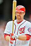 12 April 2012: Washington Nationals first baseman Chad Tracy in action against the Cincinnati Reds at Nationals Park in Washington, DC. The Nationals defeated the Reds 3-2 in 10 innings to take the first game of their 4-game series. Mandatory Credit: Ed Wolfstein Photo