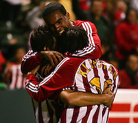 CD Chivas USA forward Ante Rozov (9) celebrates his goal with teammate midfielder Sacha Kljestan (16) and forward Maykel Galindo (11). CD Chivas USA defeated the LA Galaxy in the Super Clasico 3-0 at the Home Depot Center in Carson, CA, Thursday, September 13, 2007.