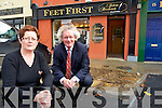 STUCK IN THE MUD: Marie Magner of Feet First and solicitor, John Galvin beside one of the new 'build outs' on Ashe Street which are angering local retailers.   Copyright Kerry's Eye 2008