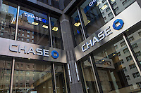 A Chase bank branch is pictured in the New York City borough of Manhattan, NY, Monday May 12, 2014. JPMorgan Chase Bank, N.A., doing business as Chase, is a national bank that constitutes the consumer and commercial banking subsidiary of financial services firm JPMorgan Chase.